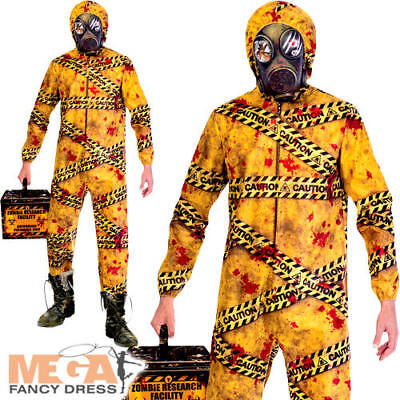 Quarantine Zombie Mens Fancy Dress Undead Radioactive Caution Adults Costume New (Radioactive Man Costume)