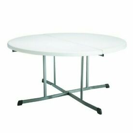 5ft (1.52 m) Round Fold-In-Half Table In White
