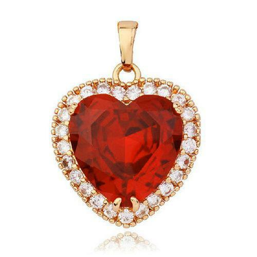 Ruby heart pendant ebay mozeypictures Image collections
