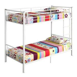 white metal bunk beds