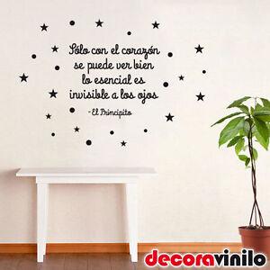 Vinilo decorativo de pared frase bonita el principito - Pegatinas pared frases ...