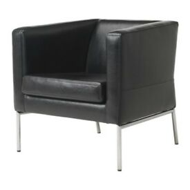 Ikea Klappsta Black Leather Arm Chair with steel Base