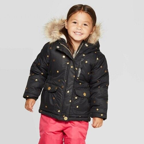 Toddler Girls' Stars and Moon Heavyweight Puffer Jacket – Cat & Jack™ Black 6 Baby