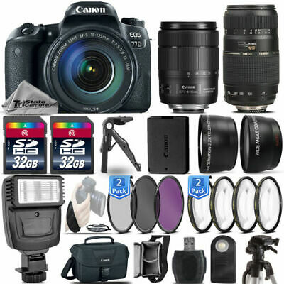 Canon EOS 77D DSLR Camera 1892C002 + 18-135mm USM + 70-300mm + Flash - 64GB Kit
