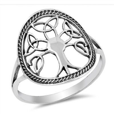 Celtic Trinity Knot Ring (Sterling Silver Celtic Triangle Triquetra Trinity Knot Tree of Life)