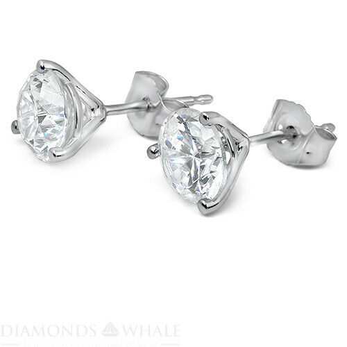 2.2 Ct Round Stud Diamond Earrings Si1/g 18k White Gold Engagement, Enhanced