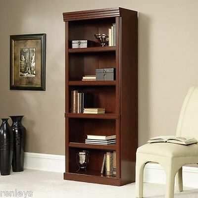 Bookcase 5 Shelf Cherry Adjustable Shelving Furniture Storage Book Bookshelf NEW