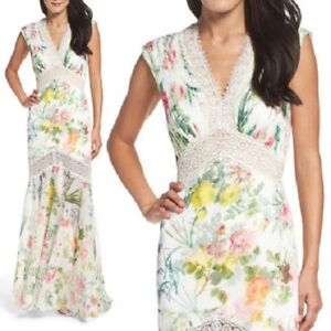 NEW TADASHI SHOJI White Floral Print Marine Pleat Chiffon Lace Trumpet Gown 12