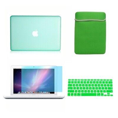 """4in1 Rubberized Green Case For Macbook White 13"""" +keyboar..."""