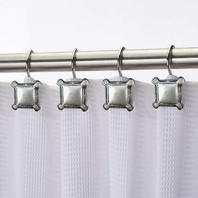 12 PIECE SILVER METAL SQUARES SHOWER CURTAIN HOOKS