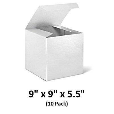 White Cardboard Tuck Top Gift Boxes 9x9x5.5 10 Pack Magicwater Supply