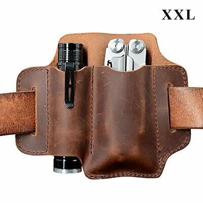 XXL EDC Leather Organizer Belt Loop, for Multitool / 5 Inch Knife and 1 Inch Di