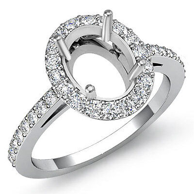 Halo Pave Setting Diamond Engagement Oval Semi Mount Ring 18k White Gold 0.45Ct