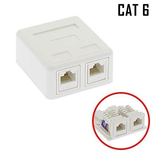 2-Port Cat6 Cat 6 Surface Mount Box RJ45 with 2x Cat 6 Keystone Jacks White