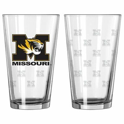 NCAA Missouri Tigers Satin Etch 16 oz Pint Glass 2 Pack Set Boelter Brands