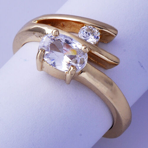 Womens Wedding Ring Clear Cubic Zirconia Yellow Gold Filled Size 7 ...