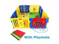 MCC Plastic Baby Playpen with 8 sides, mats included. Pickup only