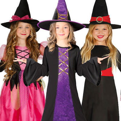 Witch Girls Fancy Dress Magic Spooky Witches Kids Childs Halloween Costumes - Spooky Kids Halloween Costumes