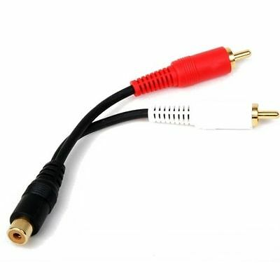6 inch RCA Female to 2 RCA Male Gold Plated Audio Adapter Y Splitter Cable 6""