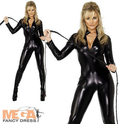 Sexy Miss Whiplash Black Catsuit Fancy Dress Halloween Costume Catwoman Cat Suit](Halloween Catwoman Suit)