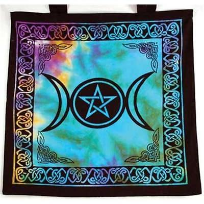 Triple Moon Pentagram Tote Bag - Pagan Witchcraft Wiccan Supply hand bag