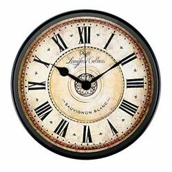12 inch Metal Wall Clock Retro Battery Operated Vintage Ticking Whisper Quiet