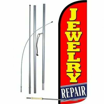 Jewelry Repair Banner Flag Sign Display Kit 3 Wide Windless Swooper Feather