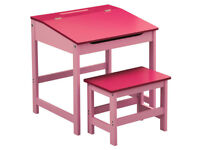 Quality Kids Desk & Chair Set Children Table Pink White & Natural Wood