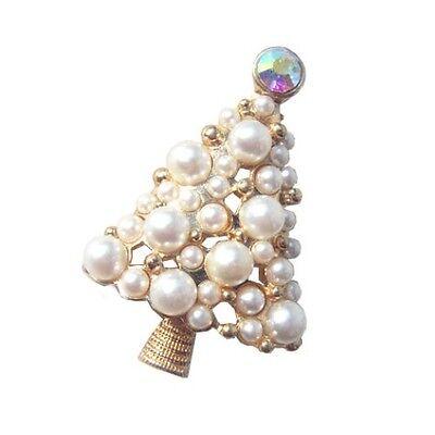 Fantastisches Geschenk (Fantastische Weiß Weihnachtsbaum Form Brosche Perlen Cluster Ansteck Geschenk)