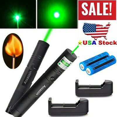 2pack 900miles Green Laser Pointer Visible Beam 1 Mw Zoom Lazerbatterycharger