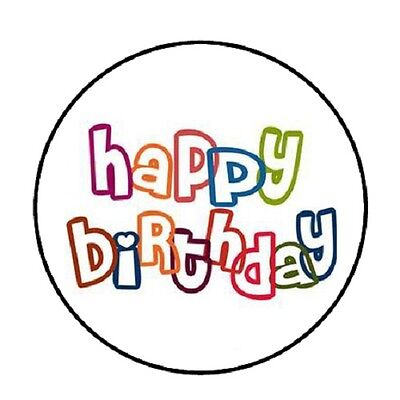 48 Colorful  Happy Birthday!!!  ENVELOPE SEALS LABELS STICKERS 1.2