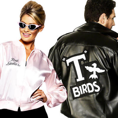 1950s Grease Jacket Adult Fancy Dress 50s Rock N Roll Mens Ladies Costume Outfit - Grease Outfit