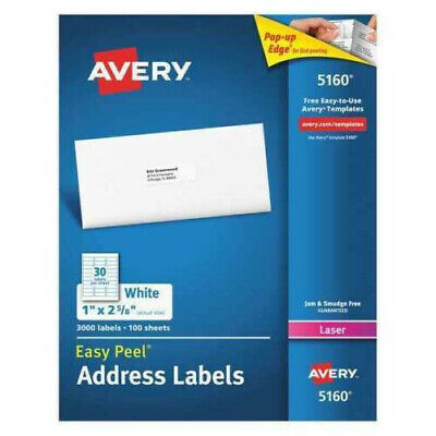 Avery 5160 Easy Peel Address Labels Permanent Adhesive 1 X 2-58 100 Sheets