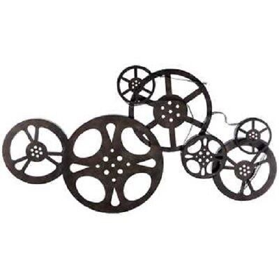 Antique- Style Bronze Metal Movie Reels Wall Art Theater Home Decor Family (Metal Bronze)