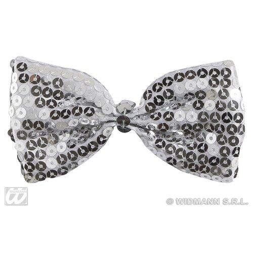 Silver Sequin Bow Tie Bowtie Fancy Dress Costume Accessory