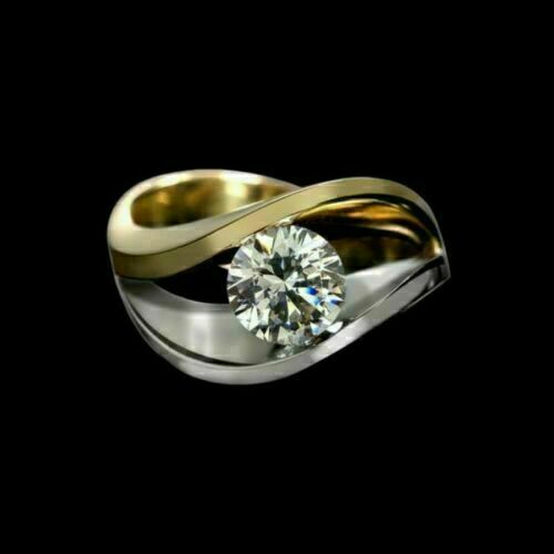 925 Sterling Silver Solitaire Engagement & Wedding Wave Band 2 Ct Round Diamond