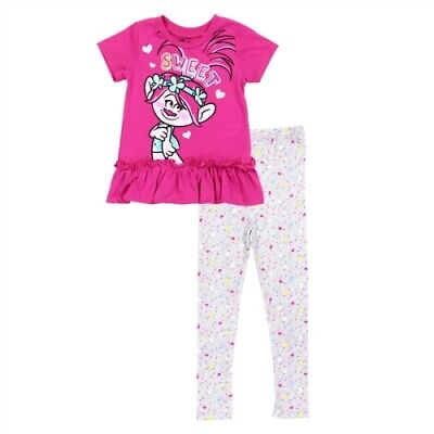 NWT 2 PC Toddler Girl Clothes Trolls Short Sleeve Top and Leggings -2T, 3T, 4T