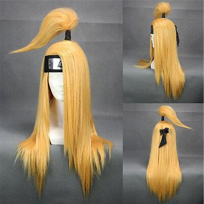 "Anime Naruto Akatsuki Deidara 26"" Straight Blonde Wig Cosplay Costume Accessory"