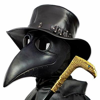 Plague Doctor Mask, Black Bird Beak Steampunk Gas Costume for Halloween Party