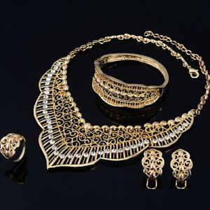Fine Jewelry Gold Plated Necklace Earrings Ring Bracelet NEW