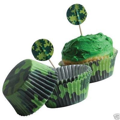 Camo Camouflage Kits 24 Cupcake Pick Liner Topper Kid Army Party Bakery Supply