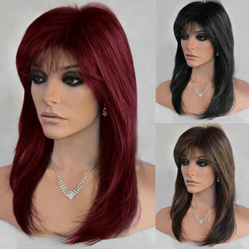Women Long Straight Hair Synthetic Wigs Full Wig With Bangs