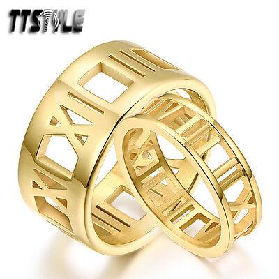 TTstyle 18K Gold GP S.Steel Roma Number Engagement Wedding B