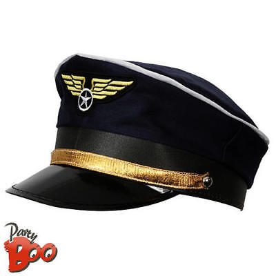 Airline Military Pilot Hat Captain Fancy Dress Uniform Adults Costume Accessory (Military Pilot Kostüm)
