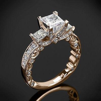 - 4.00 Ct Princess Cut Diamond 14K Rose Gold Over Three Stone Engagement Ring