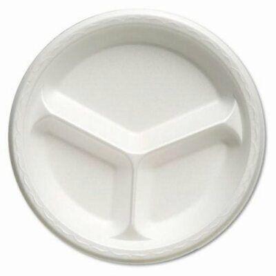 Genpak Celebrity 10-14 Foam Plate 3-compartment White 500 Plates Gnp81300