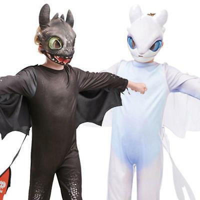 How To Train Your Dragon Kids Fancy Dress Toothless Light Fury Boy Girl - Dragon Costumes Kids