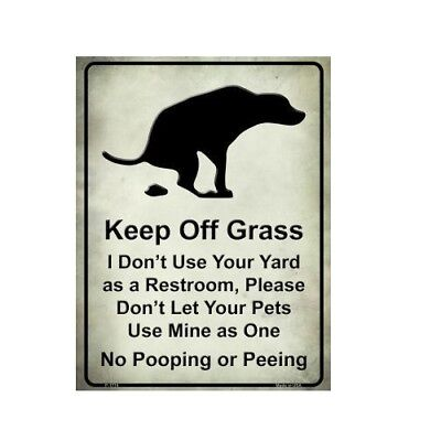 Dog Pet Signs (Keep Off Grass No Pooping Or Peeing Dogs Pets Funny Metal)