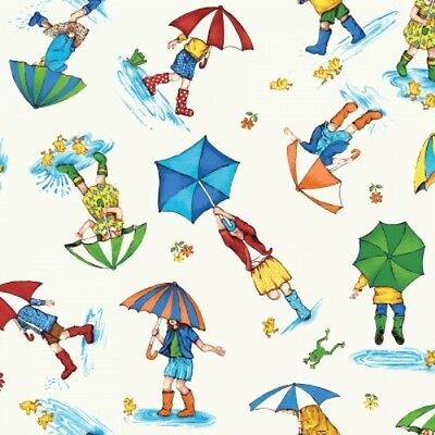 PUDDLE JUMPERS RAINY DAY SCENIC UMBRELLAS FROGS DUCKS GUMBOOTS FABRIC  Rainy Day Frogs