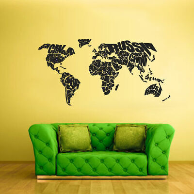Wall Vinyl Sticker Bedroom Decal World Map